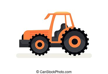 Orange tractor with large wheels. Agricultural vehicle. Farm equipment. Heavy machinery. Flat vector icon