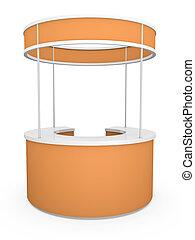 Orange circular trade stand /3D rendered illustration.