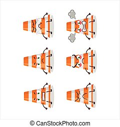Orange traffic cone cartoon character with various angry expressions