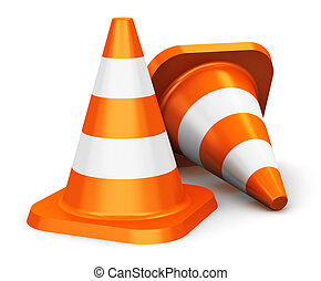 Orange traffic cones - Group of orange traffic cones...