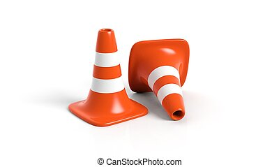 Orange traffic cones isolated on white background