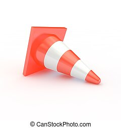 Orange traffic cones with white stripes