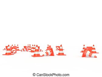 Orange traffic cones with white stripes