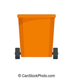 Orange trash can icon, flat style
