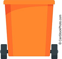 Orange trash can icon, flat style