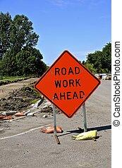 orange, travail, avertissement, panneaux signalisations