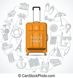 Orange travel suitcase with the set of tourism, journey, trip, tour, summer vacation doodle icons. Time to travel concept illustration