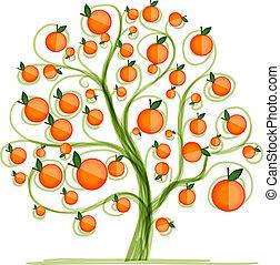 Orange tree for your design. Vector illustration