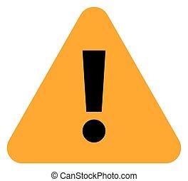 Orange triangle exclamation mark icon warning sign