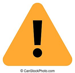 Orange triangle exclamation mark icon warning sign