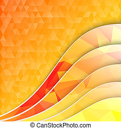 Orange triangles and waves. illustration.