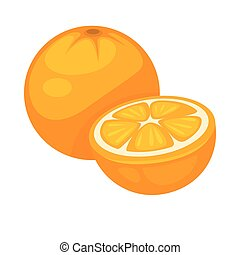 Orange tropical fruit whole and half isolated on white...