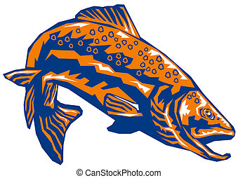 Orange trout diving - Illustration of an orange trout diving...
