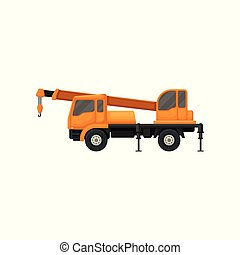 Orange truck crane. Heavy machinery with boom and hook for lifting weights. Equipment using in construction industry. Flat vector icon
