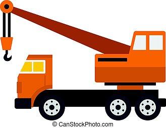 Orange truck crane icon isolated