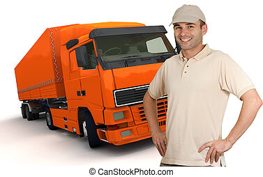 Orange Truck driver - Isolated image of a man in front of an...
