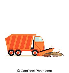 Orange truck plowing garbage, waste recycling and...