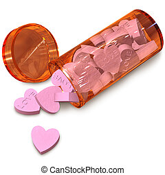 love pills - orange tube with love pills for anti-impotence