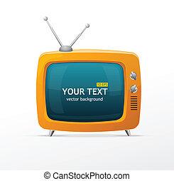 orange, tv, vecteur, retro
