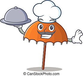Orange umbrella as a chef cartoon character with food on tray