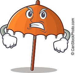 Orange umbrella cartoon character design with angry face