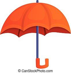 Orange umbrella icon, cartoon style