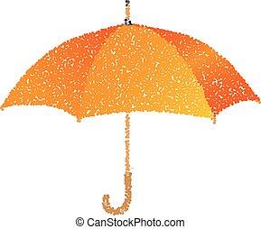 orange, umbrella., pointillé