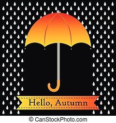 Orange umbrella with rain drops