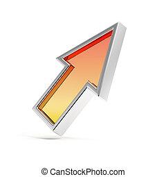 Orange up arrow isolated on white background