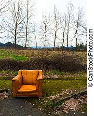 orange, urbain, chaise, décliner