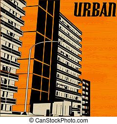 Orange Urban City Street, Vector Background Illustration