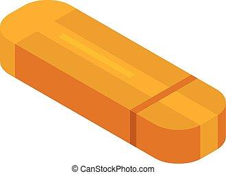 Orange usb flash icon, isometric style