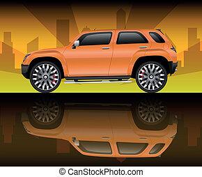 orange, véhicule utilité sports
