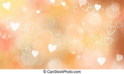 Orange Valentine's Hearts Background.