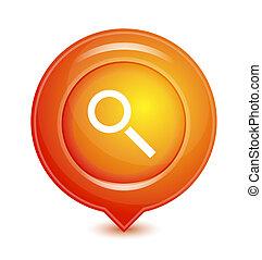 orange, vecteur, emplacement, indicateur, icône