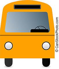 orange, vecteur, mini-fourgon, illustration