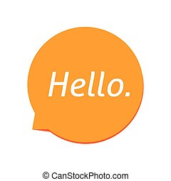 orange, vecteur, texte, icône, blanc, parole, bonjour, bulle...