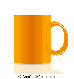 orange vector cup isolated on white background