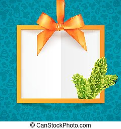 Orange vector squared frame with ribbon, bow and fir tree branch at blue Christmas pattern background