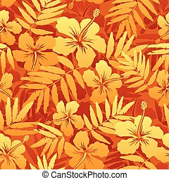 Orange vector tropical flowers seamless pattern