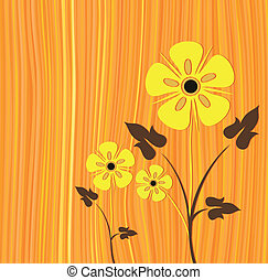Orange vector with white flower card illustration