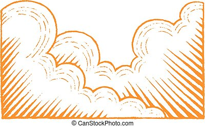 Orange Vectorized Ink Sketch of Clouds Illustration -...