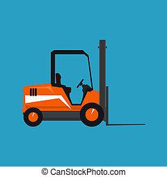 Orange Vehicle Forklift Isolated