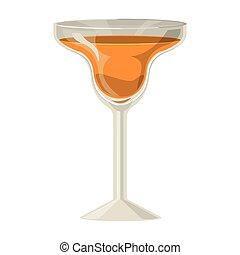 orange, verre, boisson, silhouette, cocktail