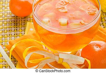 orange, verre, fruit, gelée, délicieux