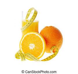 orange, verre, jus frais