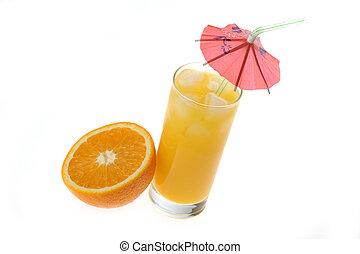 orange, verre, jus