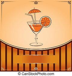 orange, verre, vecteur, cocktail