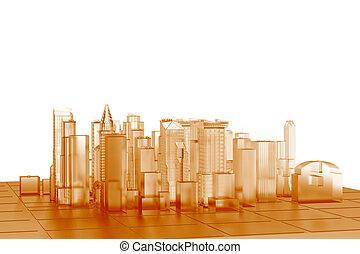 orange, ville, rendu, transparent, xray