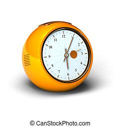 Orange vintage alarm clock over a white background